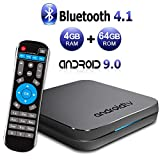 Sidiwen KM9 TV Box Android 9.0 4GB RAM 64GB ROM Amlogic S905X2 Quad Core Bluetooth 4.1 Dual Band WiFi 2.4G/5G Ethernet USB 3.0 Internet Set Top Box with Smart Breathing Light Support 3D 4K Ultra HD