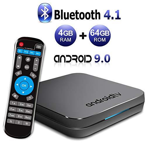 Sidiwen KM9 TV Box Android 9.0 4GB RAM 64GB ROM Amlogic S905X2 Quad Core Bluetooth 4.1 Dual Band WiFi 2.4G/5G Ethernet USB 3.0 Internet Set Top Box with Smart Breathing Light Support 3D 4K Ultra HD