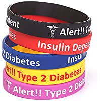 5 Pack-Type 2 Diabetes Jewelry Silicone Medical Alert Bracelets-7.5""