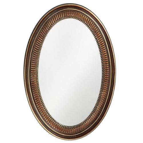 Howard Elliott Ethan Oval Hanging Wall Or Vanity Mirror, 21 x 31 Inch, Bronze
