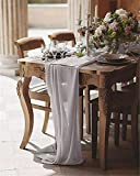 QueenDream 10-Pack 27 x 120 Inches Light Gray Romantic Sheer Chiffon Table Runner for Wedding Linens Holiday Party Baby Shower Decoration