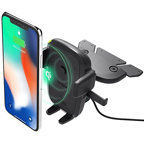 iOttie Easy One Touch Qi Wireless Charger CD Slot Mount || Fast Charge for Samsung Galaxy S10 E S9 S8 Plus Edge, Note 9 & Standard Charge for iPhone XS Max XS 8 Plus & Qi Devices | + Dual Charger