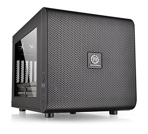 Thermaltake Core V21 SPCC Micro ATX, Mini ITX Cube Gaming Computer Case Chassis, Small Form Factor Builds, 200mm Front Fan Pre-installed, CA-1D5-00S1WN-00