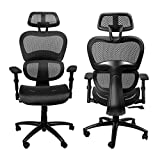 Komene Ergonomic Mesh Office Chair, High Back Computer Task Chairs with Adjustable Headrest backrest, 3D Flip-up Arms Swivel Executive Chairs, Best Desk Chairs for Home Office Conference Room, Black