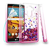 Zingcon Compatible for LG G4 Stylus Phone Case(NOT G4),LG G Stylus,LS770 Glitter Quicksand Case with HD Screen Protector,Shockproof Hybrid Hard PC Soft TPU Protective Cover-Transparent/Rose-red