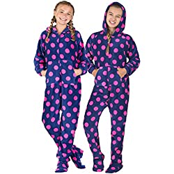 Footed Pajamas Family Matching Navy Pink Polka Kids Hoodie Chenille Onesie - Large
