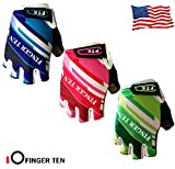 FINGER TEN Kids Junior Cycling Gloves Boy Girl Youth, Outdoor Sport Road Mountain Bike, Gel Padding Bicycle Half Finger Pair Blue, XL (Age 9-10)