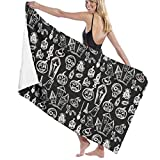 Y53JINQ Halloween Pumpkin,Coffin,Skull,Candle Pattern Bath Towels - Extra-Absorbent - 100% Polyester - 31.49' X 51.18'