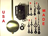 Quartz Pendulum Clock Movement Kit with 1 Set of Hands Out of 4 Types to Choose From, for Dials up to 1/2' Thick