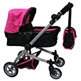 Babyboo Deluxe Doll Pram with Swiveling Wheels & Adjustable Handle & Free Carriage Bag - 9651B Pink