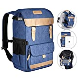 Neewer Multi-Functional Leisure Camera Backpack Case 10.8x8.3x16 inches 600D Polyester Waterproof Photography Equipment Travel Case Bag for Canon Nikon Sony DSLR Cameras(Blue)
