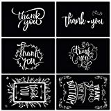 48 Black Thank You Cards of Ohuhu, 6 Designs of Chalkboard Thank You Greeting Card, Bulk Note Cards for Mother's Day, Wedding, Baby Shower, Business - Include Envelopes and Stickers - 4 x 6 Inch