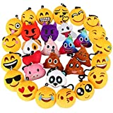 Emoji Keychain, Dreampark Emoji Key Chain Mini Plush Pillows, Party Favors for Kids, Easter Eggs Fillers / Birthday Party Supplies 2' Set of 30