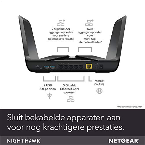 NETGEAR Nighthawk AX8 8-Stream WiFi 6 Router (RAX80) - AX6000 Wireless Speed (up to 6Gbps) | Coverage for Large Homes | 5 x 1G and 1x 2G Ethernet Ports | 2 x 3.0 USB 7