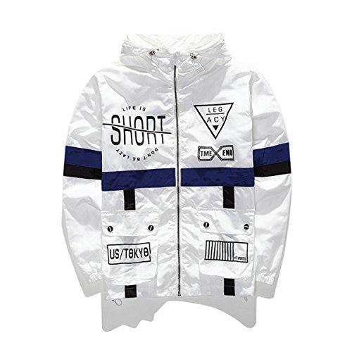 WEIPENG Men's Fashion Lightweight Hoodie Zip-up Letter Windbreaker Jacket (Small, White)