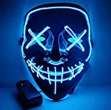 Moonideal LED Light up Mask Festival Parties Frightening Wire Halloween Sound Induction Twinkling with Music Beats (Light Blue)