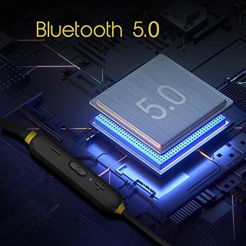 51yKLsfmoeL Infinity (JBL) Glide 120, in Ear Wi-fi Earphones with Mic, Deep Bass, Twin Equalizer, 12mm Drivers, Premium Steel Earbuds, Snug Flex Neckband, Bluetooth 5.0, IPX5 Sweatproof (Black&Yellow)