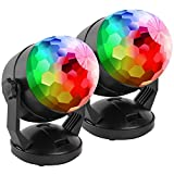 [2-Pack] Portable Sound Activated Party Lights for Outdoor and Indoor, Battery Powered/USB Plug in, Dj Lighting, RBG Disco Ball, Strobe Lamp Stage Par Light for Car Room Dance Parties