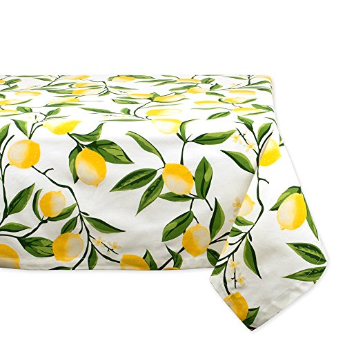 DII Rectangular Cotton Tablecloth for Summer BBQ Catering Events, Dinner Parties, Special Occasions or Everyday Use, 60x84', Lemon Bliss