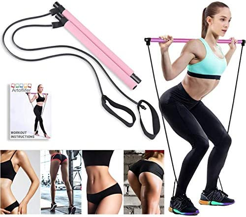 Artoflifer Exercise Resistance Band Yoga Pilates Bar Kit Portable Pilates Stick Muscle Toning Bar Home Gym Pilates with Foot Loop for Total Body Workout (Pink) 3
