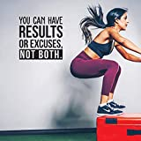 Vinyl Wall Art Decal - You Can Have Results Or Excuses Not Both - 22' x 22' - Modern Motivational Quote for Home Gym Office Workplace Fitness Center Decoration Sticker