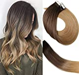 Tape In Hair Extensions Ombre Extensions 20pcs/50g Per Set #2T6T27 Dark Brown Fading to Chestnut Brown and Honey Blonde Double Sided Tape Skin Weft Remy Glue in Extensions Human Hair 20 Inch