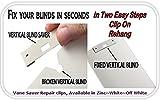20 Pack Vertical Blind Vane Saver ~ Ivory Curved Repair Clips ~ Fixes Broken
