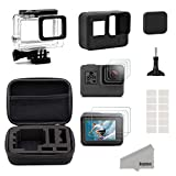 Kupton Accessories for GoPro Hero (2018)/6/5 Black Starter Kit Travel Case Small + Housing Case + Screen Protector + Lens Cover + Silicone Protective Case for Go Pro Hero6 Hero5 Outdoor Sport Kit