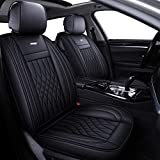 LUCKYMAN CLUB 5 Car Seat Covers Full Set with Waterproof Leather Universal for Sedan SUV Truck Fit for Most Hyundai Kia Honda Mazda Nissan Toyota Chevy (Black Full Set)