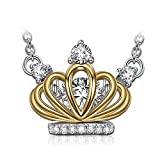 Dancing Heart Audrey Hepburn Crown 925 Sterling Silver AAA CZ Pendant Necklace Swarovski Diamond Gemstone Christmas Gifts For Women Anniversary Gifts For Her Birthday Gifts For Wife Jewelry For Woman