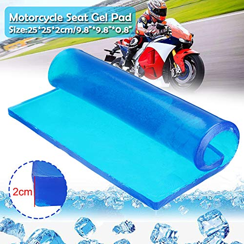 Tgdays Motorcycle Seat Gel Pad Shock Absorption Mats Reduce Fatigue Comfortable Soft Cooling Fabric Cushion Blue Cool Passenger Soft Mat(25 x 25 x 2cm)
