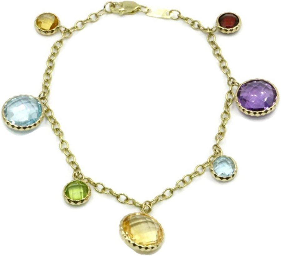 Multi-Color Charm 5 mm & 10 mm Gemstone 7.25 inches Bracelet,14k Yellow Gold
