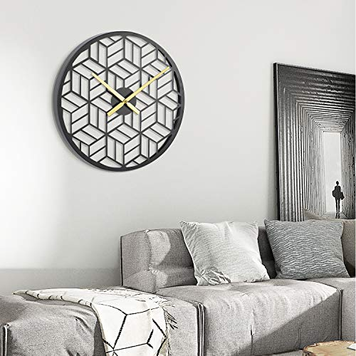 modern black geometric wall clock - modern boho living room
