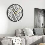modern black geometric wall clock - modern boho living room
