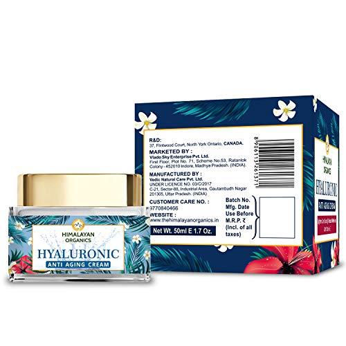 51yVy1ounrL - Himalayan Organics Hyaluronic Acid Anti Aging Cream for Under Eye Dark Circles, Anti Wrinkle, Skin Brightening, 50 ml