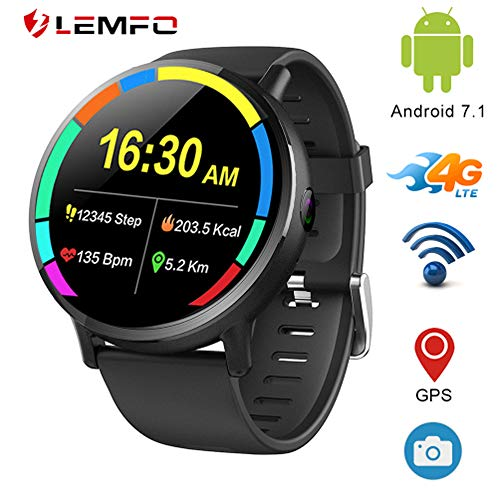 LEMFO LEMX - Android 7.1 4G LTE 2.03' Screen Smart Watches,MT6739 1GB+16GB 8MP Camera,Translator,GPS,WiFi,Heart Rate Monitor,Multi Sport Mode Smartwatch Phone for Men Women