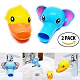 RafaLife Bath Toys - Faucet Extender, Animal Spout Sink Handle Extender for Toddlers Kids, Baby Safe and Fun Hand-Washing Solution, Promotes Hand Washing in  Children (2 Pack - Elephant, Duck)