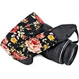 Wolven Pattern Cotton Camera Neck Shoulder Strap Belt Compatible for DSLR/SLR/Men/Women etc, Black Rose