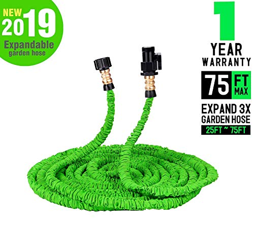 Keelyn Garden Hose - All New Expandable Water Hose, 75ft Flexible Expanding Hose Pressure Water Hose with 3/4' Brass Fittings & Triple Layer Latex Core & Latest Improved Extra Strength Fabric