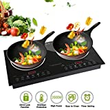Trighteach Induction Cooktop, 2400W Double Countertop Burner(2 Separate Heating Zones) with Digital Sensor and Kids Safety Lock, 8 Temperature Levels Suitable for Cast Iron Cookware