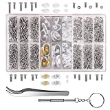 bayite Eyeglass Sunglass Repair Kit with Screws Nose Pads (4 Types, 8 Pairs) Tweezers Screwdriver 21 Types Tiny Micro Screws 1000Pcs Assortment Stainless Steel Screws for Spectacles Watch
