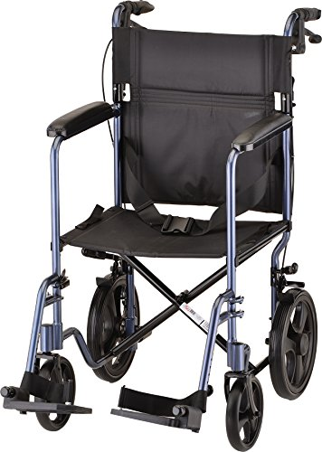 NOVA Lightweight Transport Chair with Locking Hand Brakes, 12' Rear Wheels, Full Length Padded Armrests, Blue