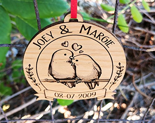 newlywed christmas ornament lovebirds personalized heart tree trunk