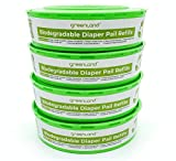 Greenland Biodegradable Diaper Pail Refills for Diaper Genie Pails. Extra Long - 1280 Count (Pack of 4) Made from PBAT + PLA + Corn Starch - Industrially Compostable