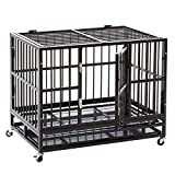 HYD-Parts Steel Large Dog Cage ,Heavy Duty Strong Pet Kennel Crate Playpen with Wheels for Large Dogs