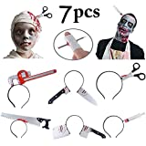 Fascigirl Halloween Headbands, 6 PCS Zombie Headbands + 1 Bonus Nail Through Finger Wound Horror Through Head Bleeding Adult Toys Props