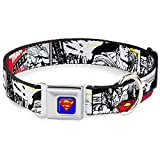 "Buckle-Down Seatbelt Buckle Dog Collar - Superman Comic Strip - 1"" Wide - Fits 9-15"" Neck - Small"