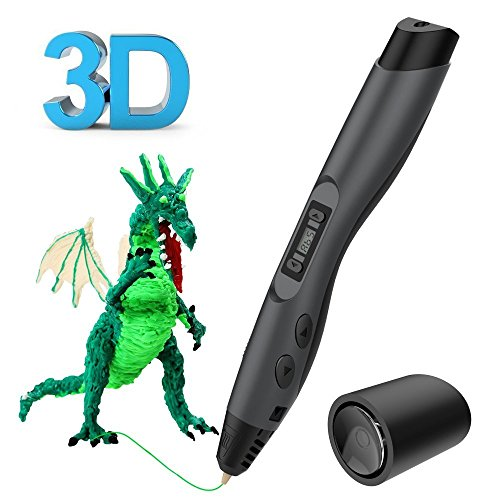 3D Printing Pen, Tecboss Intelligent 3D Pen with OLED Display and 2 Loops of 1.75 mm Filament Refills for Creating Children's Imagination and Practical Ability, Black
