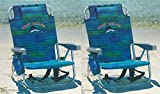 Tommy Bahama 2 2016 Backpack Cooler Beach Chair with Storage Pouch and Towel Bar (Blue Stripe)