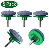 ZALALOVA 5Pcs Lawn Mower Blade Sharpener, Universal Lawnmower Blade Sharpener for Any Power Drill Hand Drill(Green)